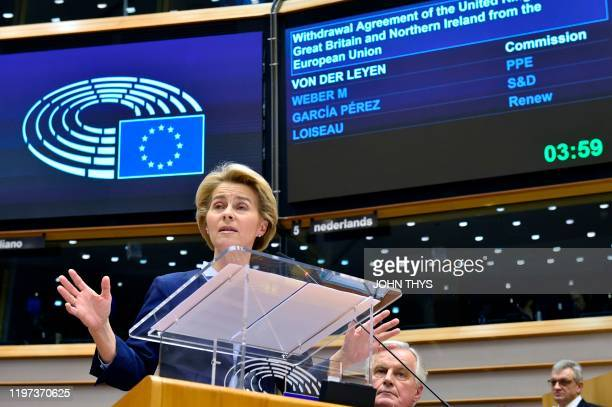 European Commission President Ursula von der Leyen speaks during a European Parliament plenary session in Brussels on January 29 as Brexit Day is to...