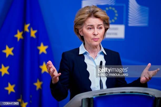 European Commission President Ursula von der Leyen speaks during a press statement at the Berlaymont building in Brussels on March 10, 2020.