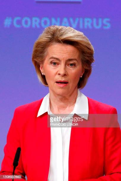 European Commission President Ursula von der Leyen speaks during a news conference detailing EU efforts to limit economic impact of the coronavirus...