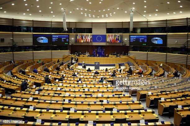 European Commission President Ursula Von Der Leyen speaks during a plenary session at the European Parliament in Brussels on November 25, 2020.
