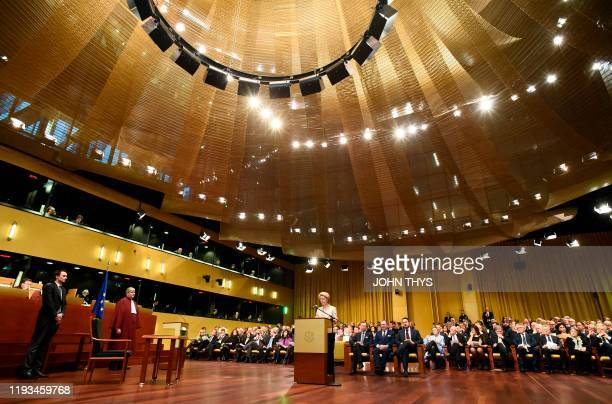 European Commission President Ursula von der Leyen takes the oath of office, on January 13 at the Court of Justice of the European Union in...