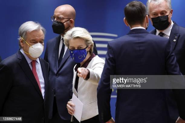 European Commission President Ursula von der Leyen , talks to United Nations Secretary General Antonio Guterres during an EU summit at the European...