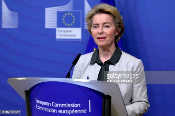 European Commission president Ursula von der Leyen unveils broad orientations of 'Green New Deal' plan to fight climate change during a press...