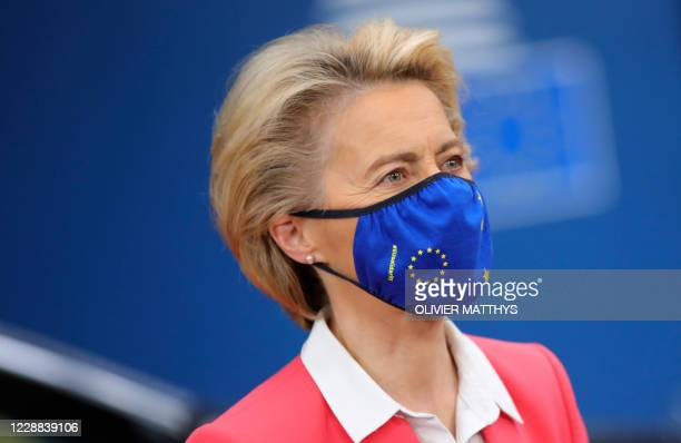 European Commission President Ursula von der Leyen wearing a mask arrives on the second day of a European Union summit at The European Council...