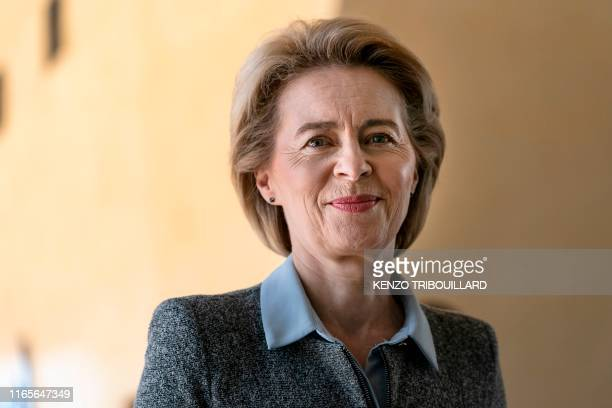 European Commission presidentelect Ursula von der Leyen arrives for a meeting with her predecessor on September 2 2019 at the European Commission in...