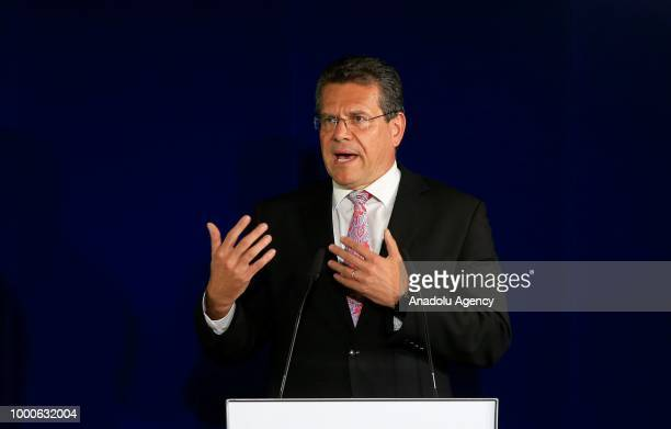 European Commission Vice President for Energy Union Maros Sefcovic holds a press conference after his meeting with Russian Energy Minister Alexander...