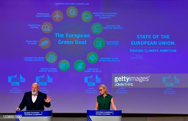 European Commission Vice President Frans Timmermans and EU commissioner for Energy Estonia's Kadri Simson give a joint press conference on the...