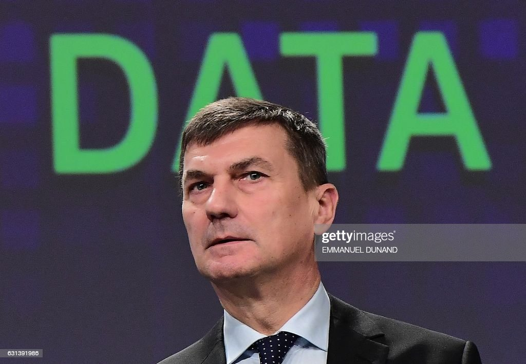 European Commission Vice-President Andrus Ansip addresses a press conference on a package of digital initiatives on the data economy and privacy of electronic communications and on the protection of personal data in international exchanges, and new data protection rules for EU institutions, at the European Commission in Brussels, on January 10, 2017. / AFP / EMMANUEL