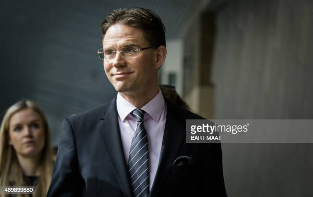 European Commission Vicepresident for Jobs Growth Investment and Competitivenes Jyrki Katainen is pictured during a visit to the Senate in The Hague...