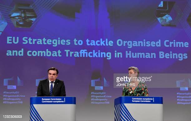 European Commission Vice-President for Promoting our European Way of Life Margaritis Schinas and EU commissioner for Home Affairs Sweden's Ylva...