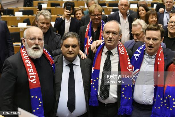 European Commission vicepresident in charge for European green deal Frans Timmermans MEP Claude Moraes Britain's leader of Labour Party delegation at...