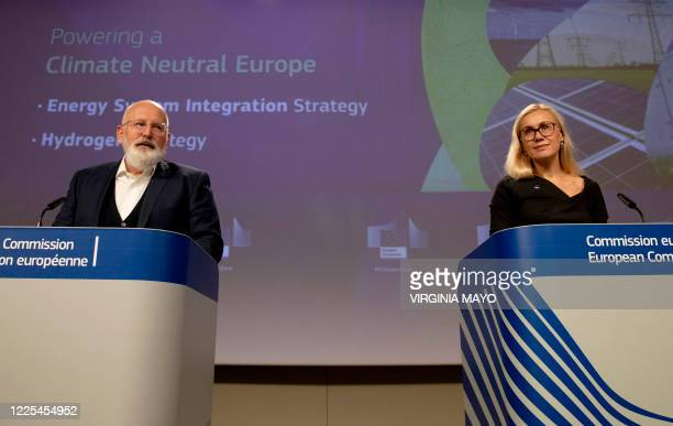 European Commission vice-president in charge for European green deal Frans Timmermans and EU commissioner for Energy Kadri Simson give a press...