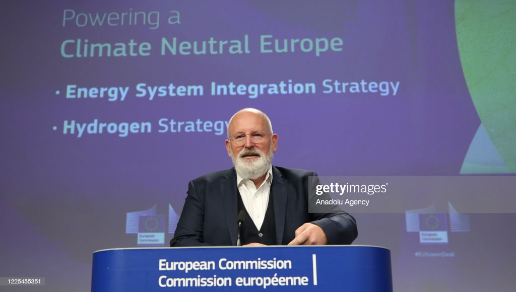 Frans Timmermans - Kadri Simson joint press conference in Brussels : News Photo