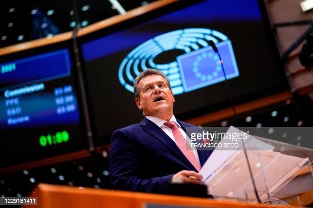 European Commission vice-president in charge for 'Interinstitutional Relations and Foresight' Maros Sefcovic addresses lawmakers during a plenary...