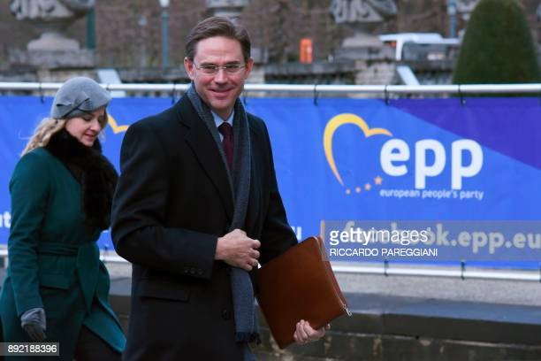 European Commission VicePresident Jyrki Katainen arrives to attend a meeting of the European People's Party in Brussels on December 14 ahead of a...
