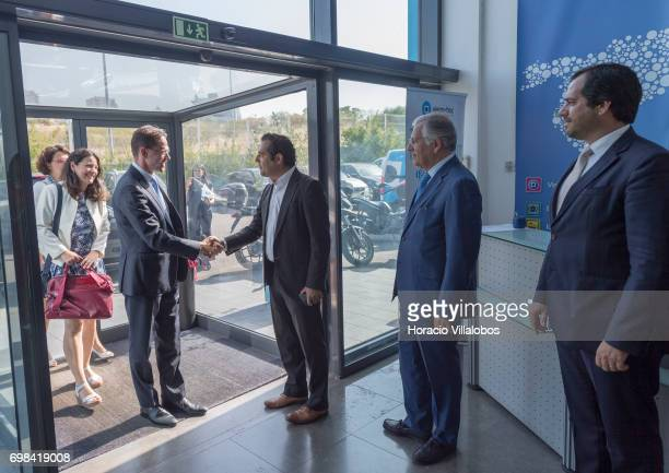 European Commission VicePresident Jyrki Katainen in charge of Jobs Growth Investment and Competitiveness is greeted by Pedro Torres Head of Product...