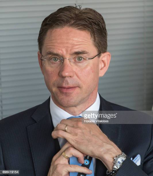 European Commission VicePresident Jyrki Katainen in charge of Jobs Growth Investment and Competitiveness during his visit to VisionBox on June 20...