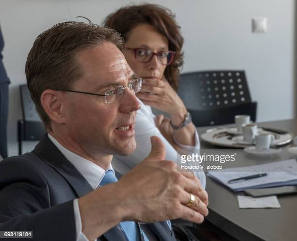 European Commission VicePresident Jyrki Katainen in charge of Jobs Growth Investment and Competitiveness poses a question to Pedro Alves VisionBox...