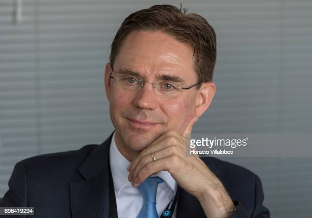 European Commission VicePresident Jyrki Katainen in charge of Jobs Growth Investment and Competitiveness listens to Pedro Torres Head of Product...