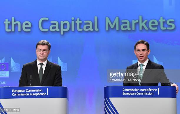 European Commission VicePresidents Valdis Dombrovskis and Jyrki Katainen address a press conference on the new initiatives under the Capital Markets...