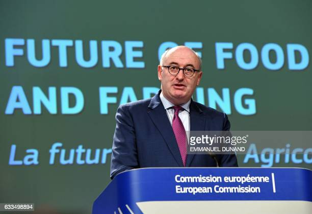 European Commissioner for Agriculture and Rural Development Phil Hogan addresses a press conference on the official launch of a public consultation...