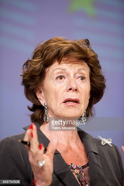 European commissioner for competion Neelie KROES holds a press conference on stateaided banks on May 12 at the European commission headquarters in...