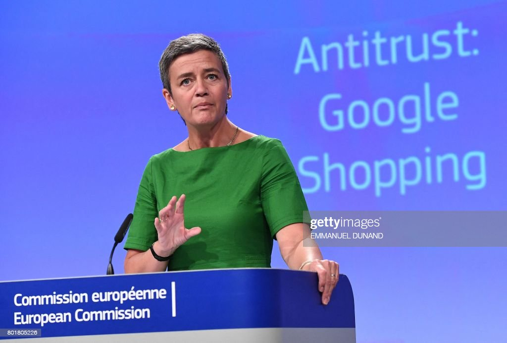European Commissioner for Competition Margrethe Vestager addresses a press conference on an antitrust case against US search engine Google at the European Commission in Brussels, on June 27, 2017. The EU slapped Google with a record 2.4-billion-euro anti-trust fine on June 27, 2017, dealing a fresh blow to a US tech giant and risking the anger of President Donald Trump. /