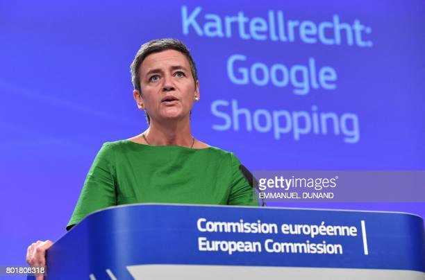 European Commissioner for Competition Margrethe Vestager addresses a press conference on an antitrust case against US search engine Google at the...