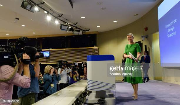 European Commissioner for Competition Margrethe Vestager delivers a speech as the European Commission has fined Google 24 billion euro for...