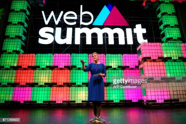 European Commissioner for Competition Margrethe Vestager delivers a speech during the 2017 Web Summit in Lisbon on November 7 2017 Europe's largest...