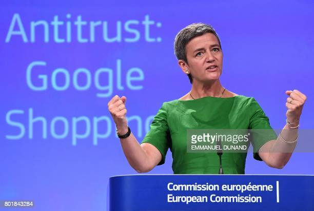 European Commissioner for Competition Margrethe Vestager gestures during a press conference on an antitrust case against US search engine Google at...