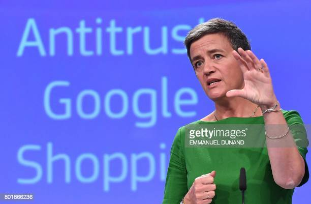 European Commissioner for Competition Margrethe Vestager gives a press conference on an antitrust case againts US search engine Google the European...