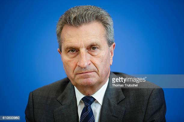 European Commissioner for Digital Economy and Society Guenther Oettinger speaks to the media at Bundespressekonferenz on September 26 2016 in Berlin...