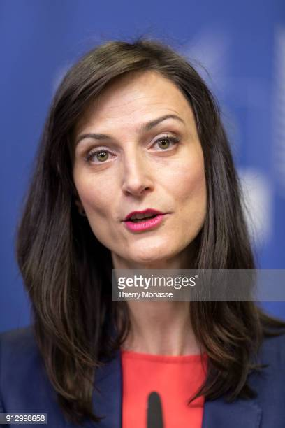 European Commissioner for Digital Economy and Society Mariya Gabriel during a press conference to launch the EU blockchain observatory and forum at...