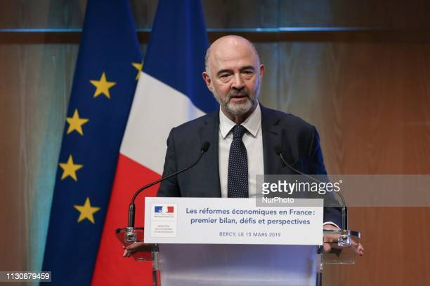 European Commissioner for Economic and Financial Affairs Pierre Moscovici talks during a seminar on the theme « Economic reforms in France first...