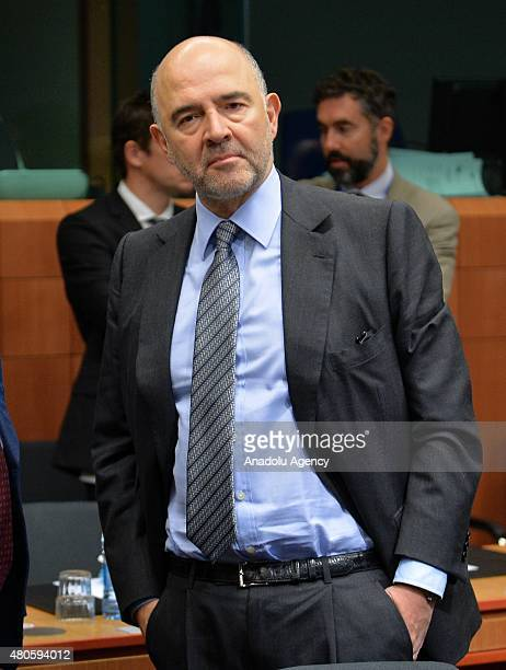 European Commissioner for Economic and Financial Affairs Pierre Moscovici at the start of the Eurogroup finance ministers meeting at the European...