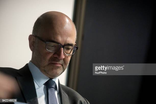 European Commissioner for Economic and Financial Affairs Taxation and Customs Union Pierre Moscovici visits the Confluence district in Lyon France on...