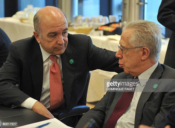 European Commissioner for Economic and Monetary affairs Joaquim Almunia talks with Italian Economy Minister Tommaso PadoaSchioppa before an informal...