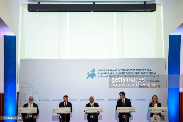 European Commissioner for Energy and Climate Action Miguel Arias Canete French President Emmanuel Macron Portuguese Prime Minister Antonio Costa...
