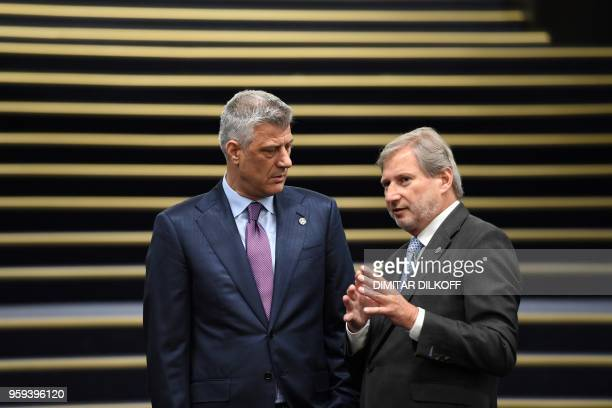 European Commissioner for European Neighborhood Policy Johannes Hahn attends the EUWestern Balkans Summit in Sofia on May 17 2018 European Union...