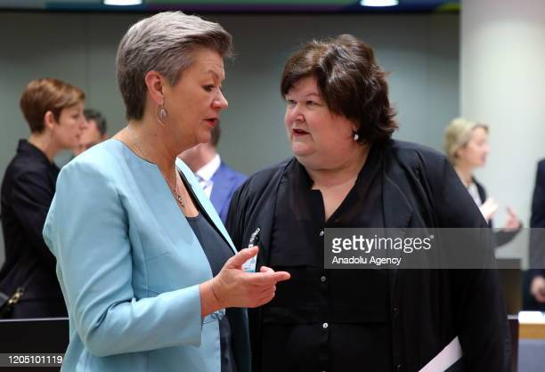 European Commissioner for Home Affairs Ylva Johansson and Belgium Health Minister Maggie De Block attend an extraordinary session of EU Justice and...