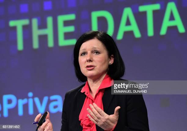 European Commissioner for Justice Consumers and Gender Equality Vera Jourova addresses a press conference on a package of digital initiatives on the...