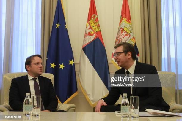 European Commissioner for Neighbourhood and Enlargement Oliver Varhelyi meets President of Serbia Aleksandar Vucic in Belgrade, Serbia on February 6,...