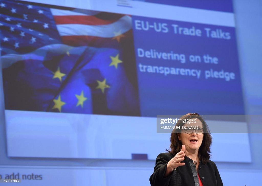 BELGIUM-EU-US-TRADE-MALMSTROM-TTIP : News Photo
