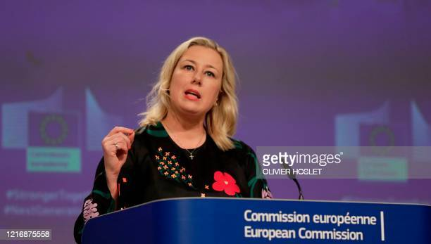 European Commissioner in Charge of International Partnerships Jutta Urpilainen speaks during a video press conference on external action of the EU in...