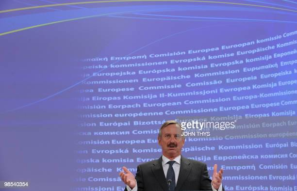 European commissioner in charge of transport Siim Kallas gives a joint press conference at the EU headquarters in Brussels on April 19 2009 The...