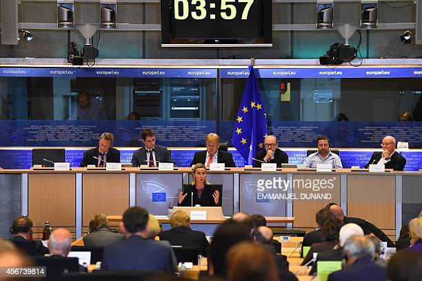 European Commissionerdesignate Federica Mogherini from Italy speaks during her hearing by the European Parliament in Brussels on October 6 2014...