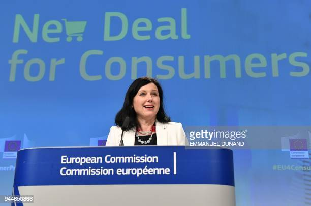 European Commissionner for Justice Consumers and Gender Equality Vera Jourova addresses a press conference on the new deal for EU consumers at the...