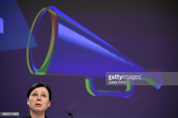 European Commissionner for Justice Consumers and Gender Equality Vera Jourova speaks during a joint press conference with European Commission First...