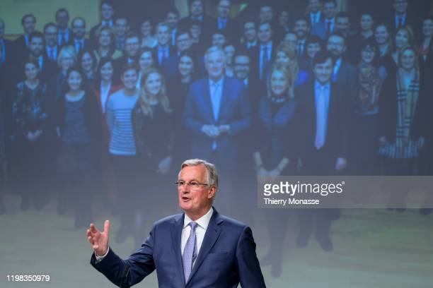 European Commission's Head of Task Force for Relations with the United Kingdom Michel Barnier gestures during a news conference on Jebruary 3 2020 in...